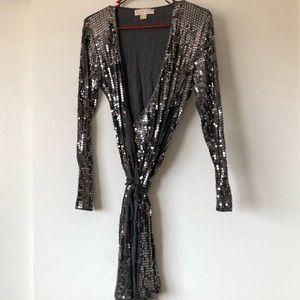 MK Sequin Wrap Dress with ties